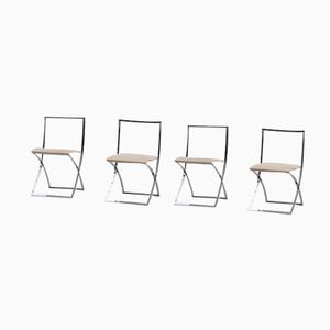 Chromed Steel Chairs by Marcello Cuneo for Mobel, 1970s, Set of 4