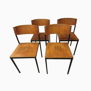 Industrial Plywood Stacking Chairs from Mauser, Set of 4
