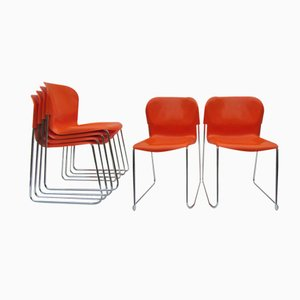 SM 400 Plastic and Chrome Swing Chairs by Gerd Lange for Drabert, Set of 6