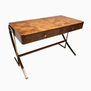 Burl Wood Desk with Brass Legs by Hickory White