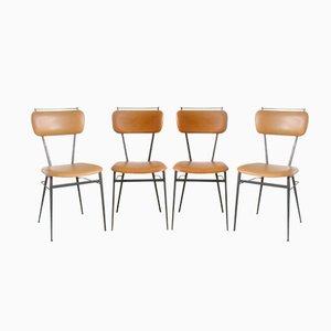 Chaises Vintage Noires en Métal, France de Soudexvinyl, 1960s, Set de 4
