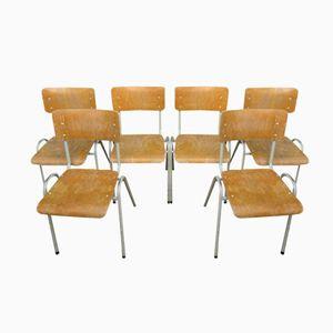 Vintage Industrial School Chairs, Set of 6