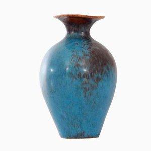 AUH Brown & Blue Matte Hare's Fur Glaze Vase by Gunnar Nylund for Rörstrand, 1960s