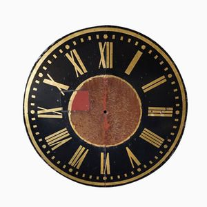 Vintage French Painted Iron Riveted Clock Face, 1930s