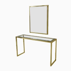 Italian Brass & Chrome Console Table with Mirror