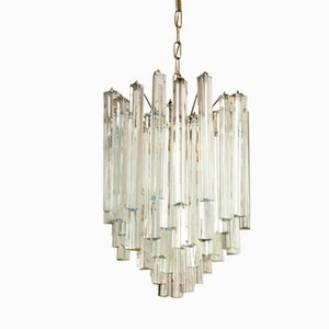 Lead and Crystal Triangular Prism Chandelier by J.T. Kalmar