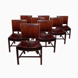 Rote Esszimmerstühle von Kaare Klint für Rud Rasmussen