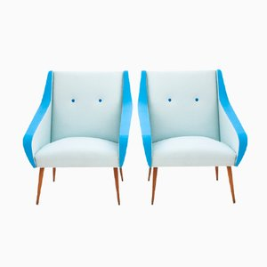 Swedish Mid-Century Skai Leather Lounge Chairs, Set of 2