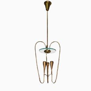 Messing Deckenlampe von Pietro Chiesa für Fontana Arte