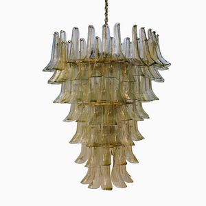Tulipani Brass and Glass Chandelier from Mazzega, 1970s