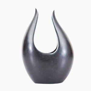 Short Black Caolina Vase by Gunnar Nylund for Rörstrand, 1960s
