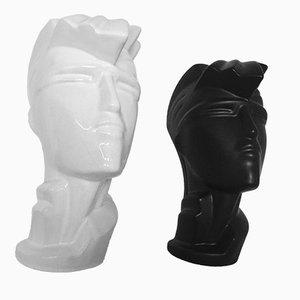 Keramik Modell Irmgard Kopf Skulpturen von Lindsey B, 1984, 2er Set