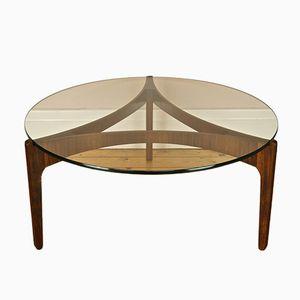 Rosewood & Glass Coffee Table by Sven Ellekaer for Christian Linneberg