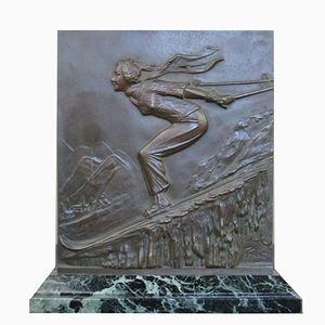 Art Deco Bronze Skier Plaque by Frederic Focht, 1930s
