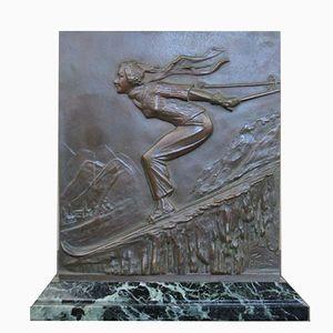 Art Deco Gedenktalfel aus Bronze von Frederic Focht, 1930er