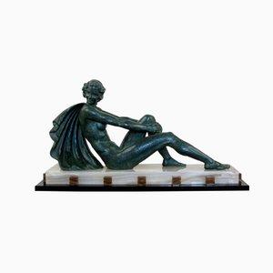 Figura grande Art Déco in spelter di Ugo Cipriani, Francia, anni '30