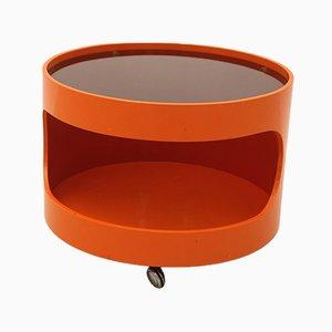 Orangener Couchtisch auf Rädern von Opal Möbel, 1960er