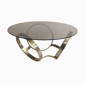 Smoked Glass Coffee Table with Three Metal-Ringed Base, 1970s