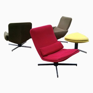 Swivel Chairs with Footstool by Hugues Steiner, 1950, Set of 4