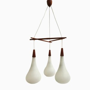 Scandinavian Teak and Frosted Glass Ceiling Light, 1960s