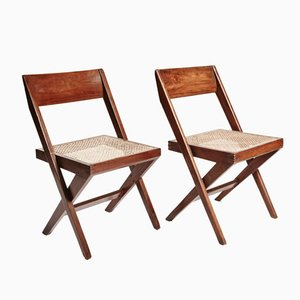 Teak and Wicker Library Chairs by Pierre Jeanneret, Set of 2