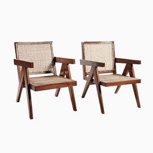 Teak and Wicker Armchairs by Pierre Jeanneret, Set of 2
