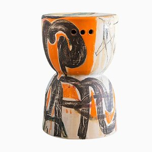 Zylinderförmiger Keramik Hocker von Reinaldo Sanguino