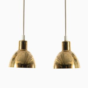 Scandinavian Brass Pendants by H.A. Jakobsson for Markaryd, Set of 2