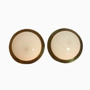 Italienische Vintage Wandlampen aus Messing und Glas, 2er Set
