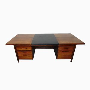 Mid-Century Rosewood & Leather Desk by Ib Kofod Larsen for Brande