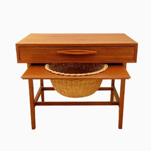 Teak and Rattan Sewing Table.