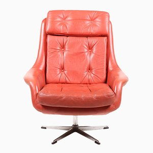 Danish Orange Leather Swivel Chair, 1972