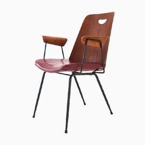 Mid Century Italian Teak & Iron Armchair
