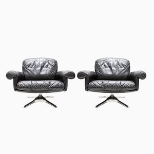 Black Leather Club Chairs from de Sede, Set of 2