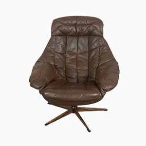 Brown Leather Swivel Chair by H. W. Klein for Bramin