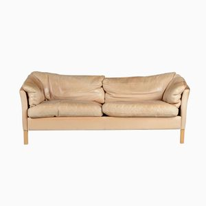 Danish Leather Sofa by Hans Mogens