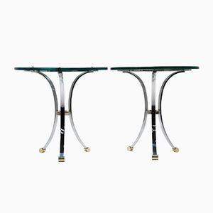 Glass Side Tables with Chrome Bases, Set of 2
