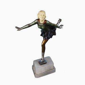 Figurine de Patineuse en Zinc et Ivorine, 1930s