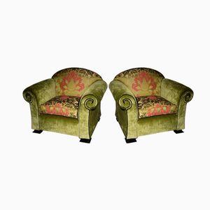 Green Italian Art Deco Club Chairs, 1930s, Set of 2