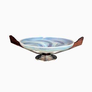 Milieu de Table Art Déco en Verre Opalescent et en Métal Chromé, 1930s