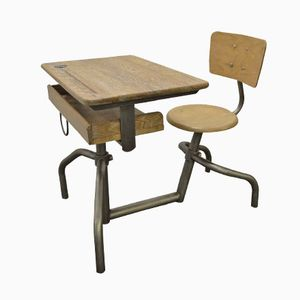 School Desk and Chair by Jacques Hitier for Mobilor