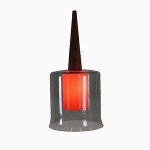 Danish Glass & Teak Pendant Lamp, 1958