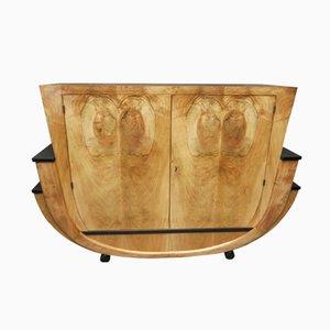 Italienisches Geschwungenes Art Deco Nussholz Sideboard