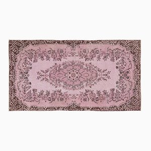 Vintage Turkish Pink Overdyed Floral Rug