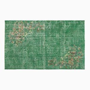 Türkischer Vintage Teppich in Grellem Grün