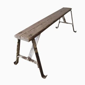 Industrial Garden Bench with Steel Frame