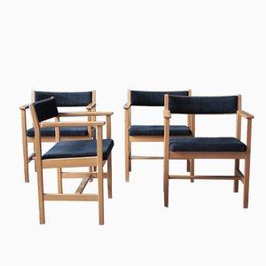 Modell 3242 Esszimmerstühle von Borge Mogensen für Fredericia, 4er Set