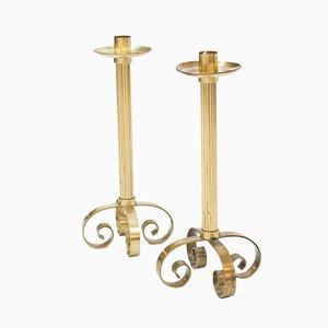 Large Scandinavian Brass Candlesticks for Ystad Metall, 1940s, Set of 2