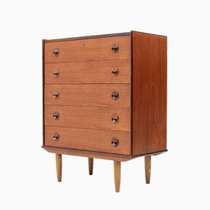 Lockable Chest of Five Drawers by K. Kristiansen, 1955