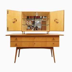 Cherry Wood Sideboard and Bar Cabinet, 1950s